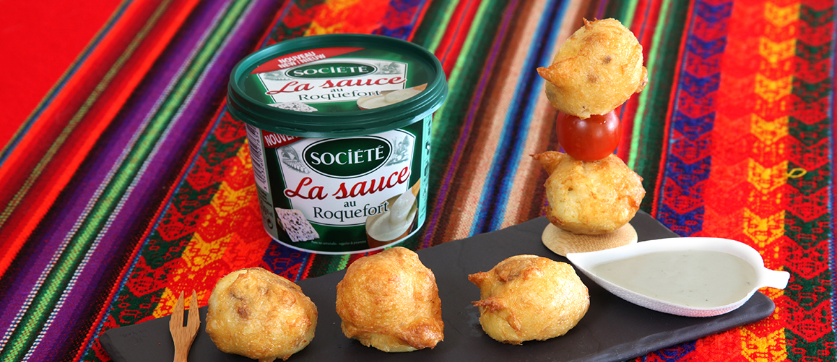 Accras du comablou à la Sauce au Roquefort Société