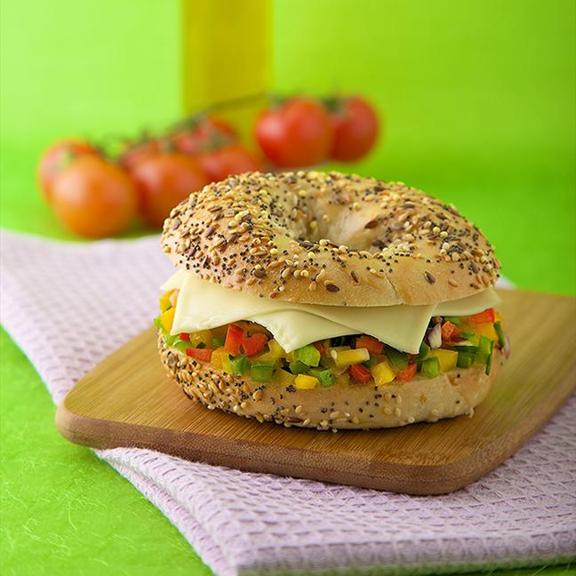 Bagel végétarien avec Société Croque