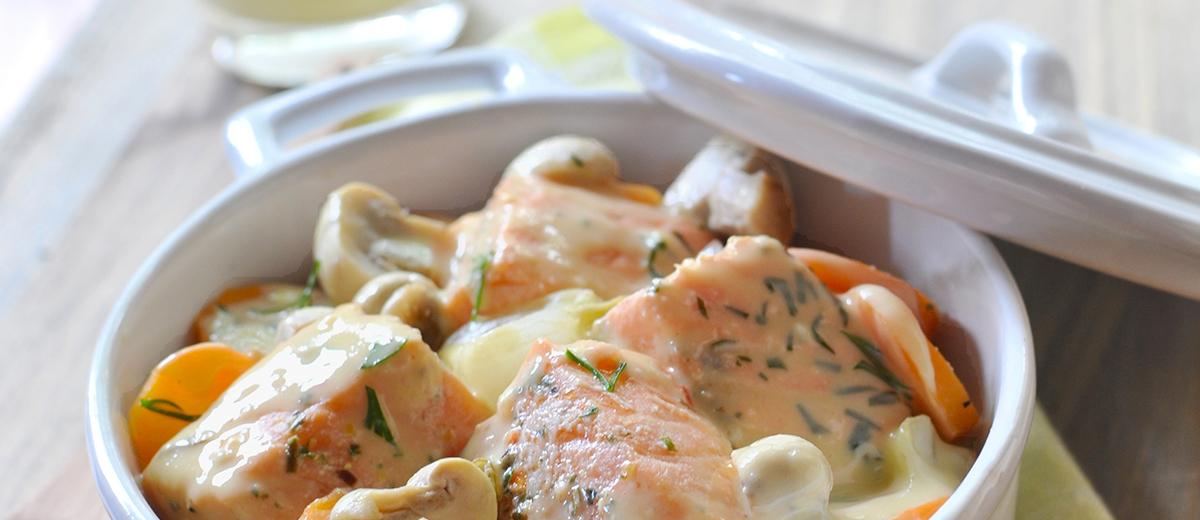 Blanquette de saumon au Roquefort Société