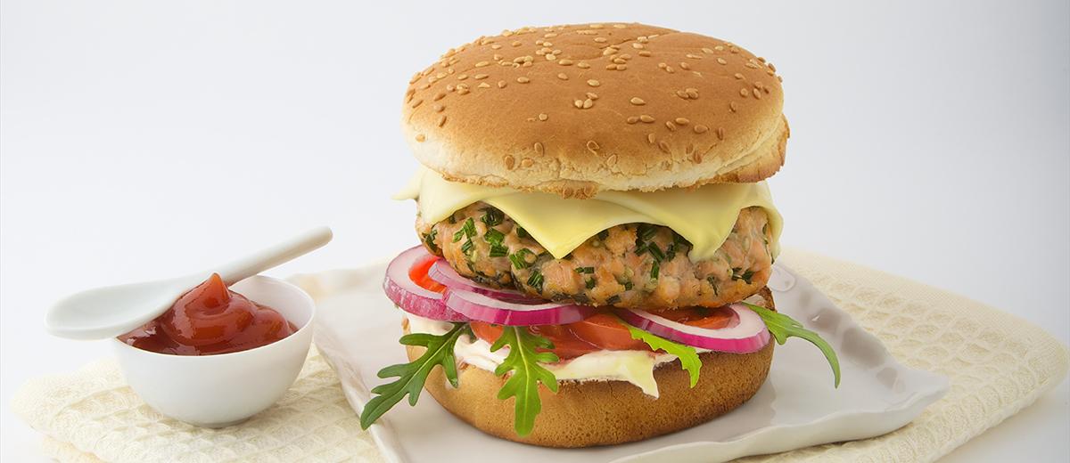 Burger aux deux saumons avec Société Croque
