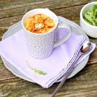 Mug cake aux tomates séchées, chorizo et Société Crème